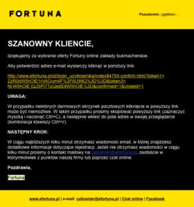 Email z linkiem Fortuna