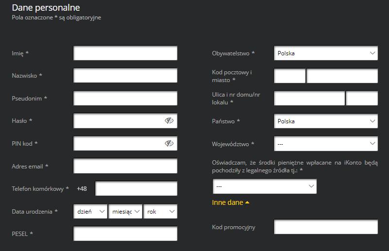 Formularz rejestracyjny Fortuny